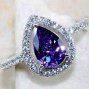 Genuine Amethyst & White Topaz Silver Ring